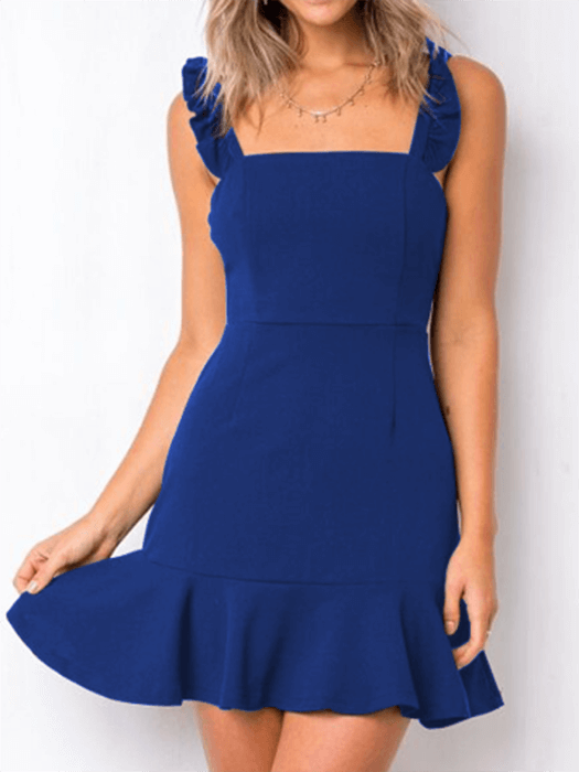 Backless Sleeveless Ruffled Hem Dress