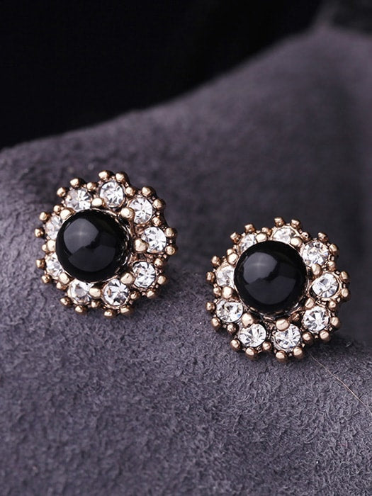 Floral Faux-jewelled Stub Earrings
