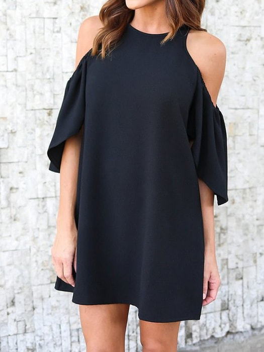 Cut Out Shoulder Pure Color Mini Dress