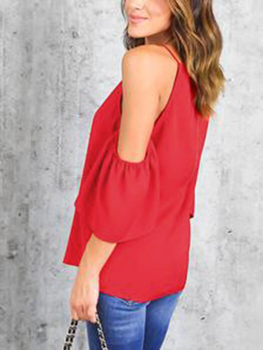 Cold Shoulder Strap Pure Color Ruffled Top