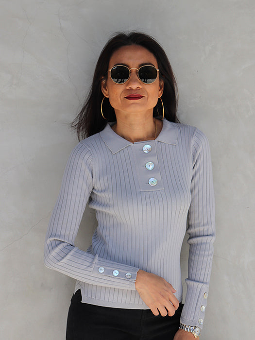 POLO Sweater with Shell Buttons