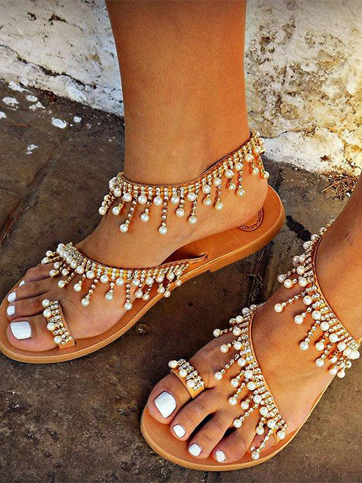 Delicate Pearls Decoration Leather Sandal