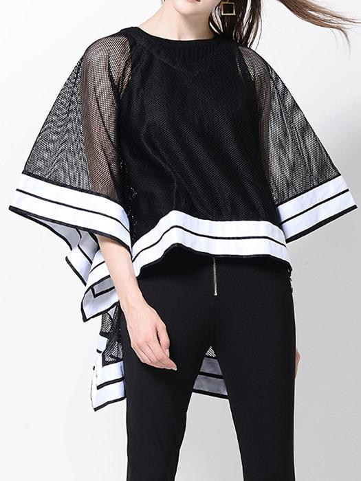 Color Block Cropped Mesh Fishnet Cape Top
