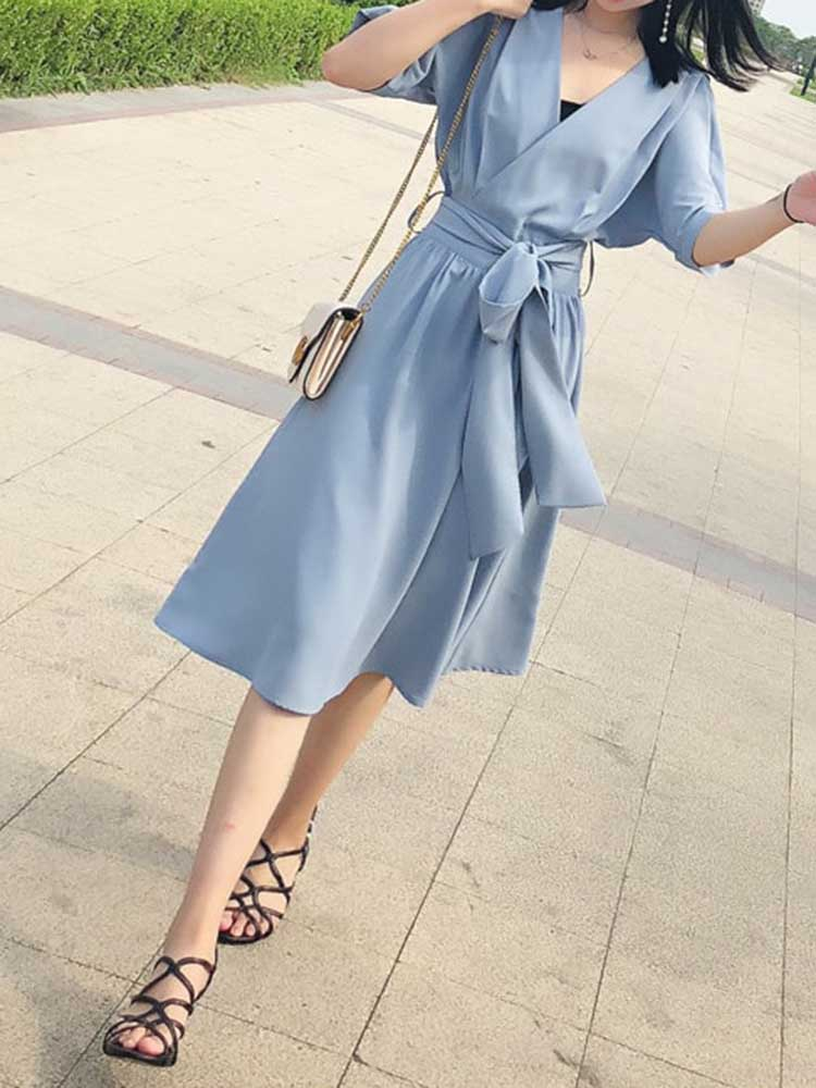 Chic Solid Wrap Dress