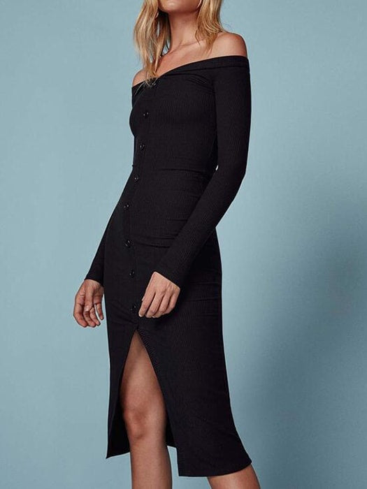 Ribbed Knot Off-the-Shoulder Bodycon Midi Dress