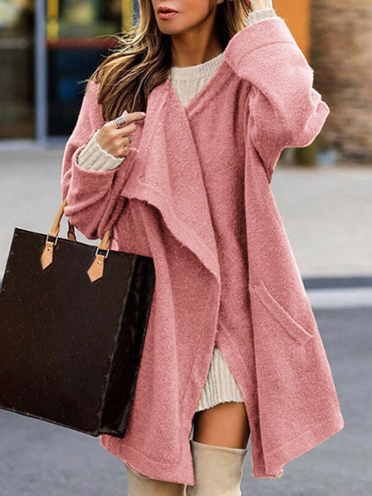 Women Solid Color Waterfall Cardigan Loose Casual Outerwear