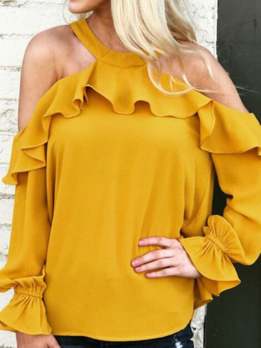 546f86725e2775 Ruffle Cold Shoulder Top In Yellow – WhatsMode