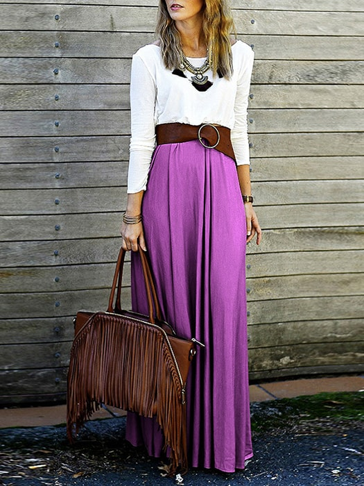 Cross-X String Back Maxi Dress With Belt