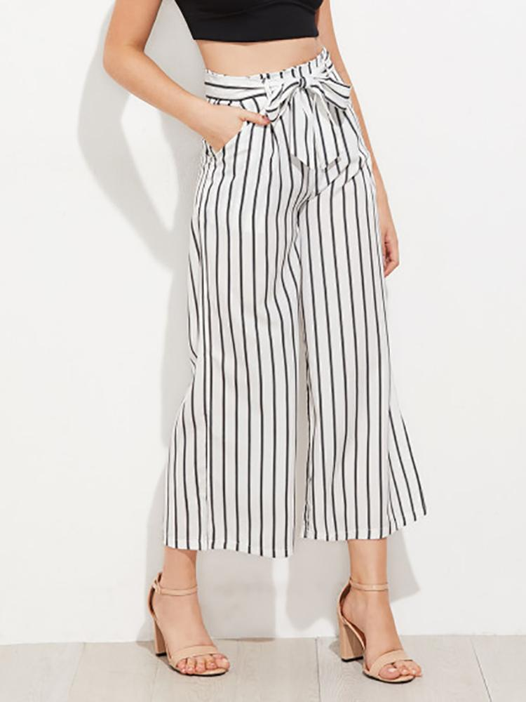 Classic Zebra Striped Wide-leg Pants