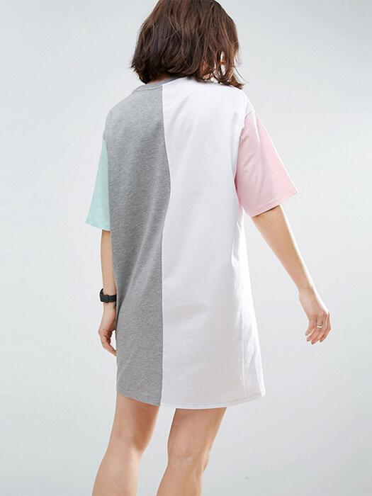 Color Blocked Crew Neck Oversize Shirt
