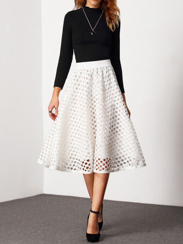 Hollow-out A-line Skirt