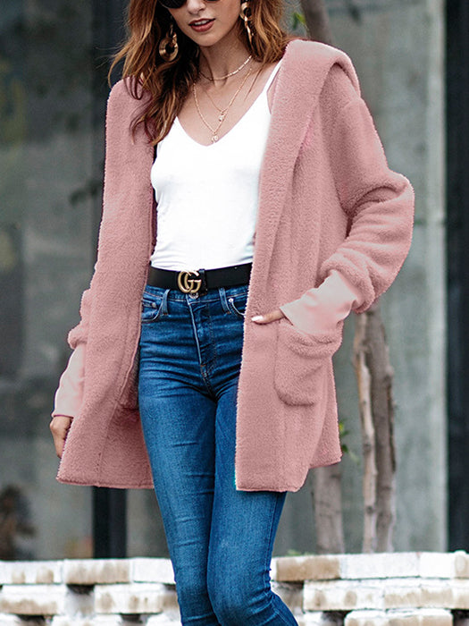 Women Open Front Hooded Casual Coat with Pockets Long Cardigan