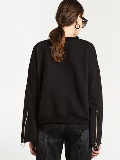 Flared Cuff Sleeve All Black Sweatshirt