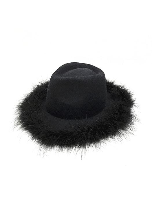 Felt Imitated Furs Hat With Wide Brim
