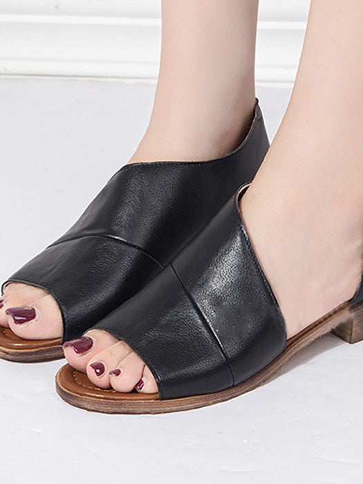 Side  And  Toe Open Solid Leather Sandals