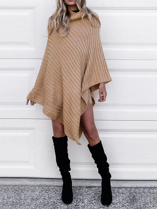 High Neck Irregular Cape Sweater