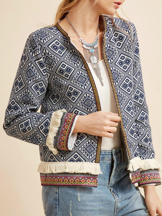 Folk Fringe Open Front Jacket