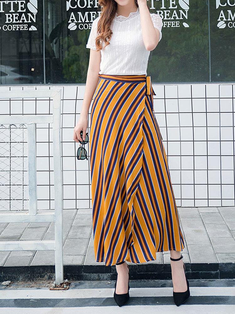 Stripped Skirt With Tie Belt