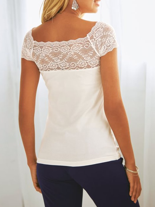 Boat Neck Lace Hem Spliced T-shirt