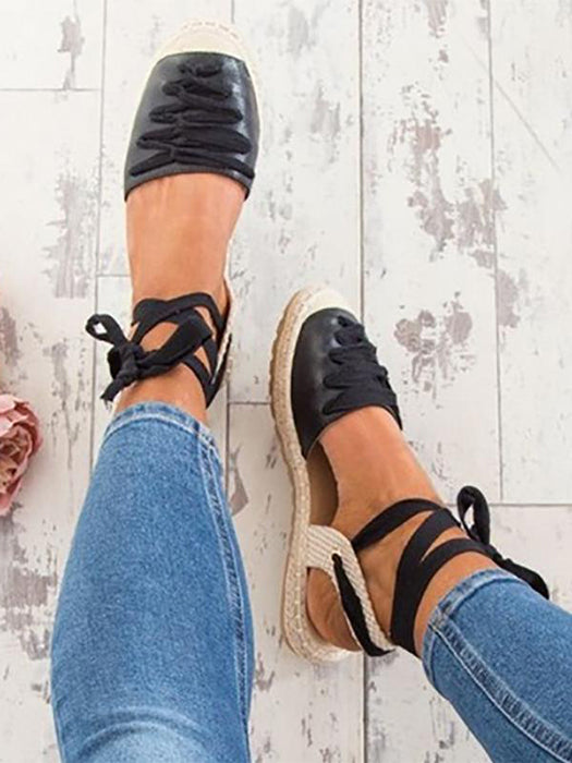 Low Wedge Lace Up Espadrilles