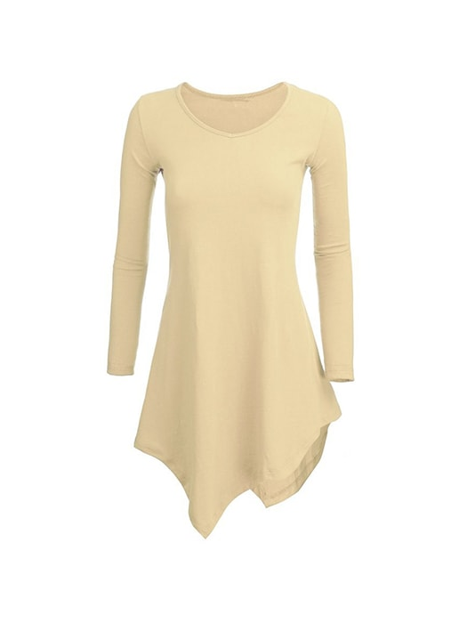 Long Sleeve Solid Color Irregular T Shirt Tops