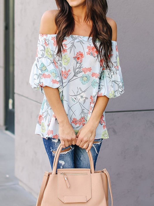 Boat Neck Bubble Sleeve Floral Print Top