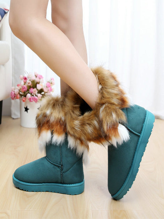Autumn Winter Ladies Casual Comfortable Snow Boots Ankle Boots Warm Synthetic Leather