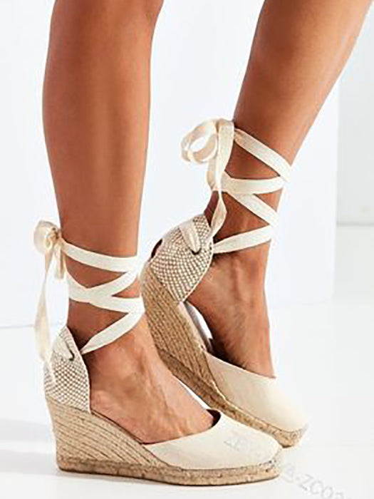 Casual Lace Up Flocking Wedge Sandal