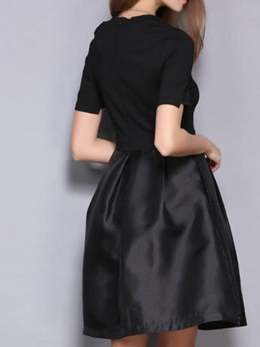 A Line Spliced Dress In Black