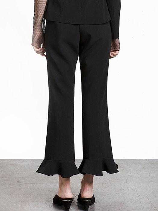 Nine Point Ruffle Bottom Solid Color Pant