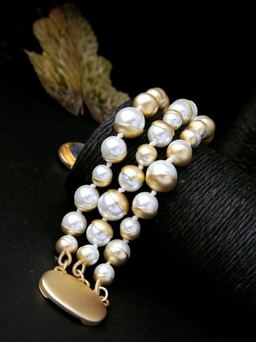Faux-pearl Three Stripe Bracelet