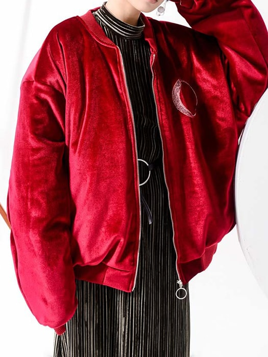 Inspired Embroidery Drop Shoulder Ribbed Hem Jacket In Velvet