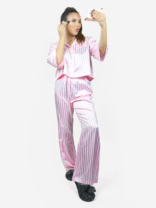Satin Striped Pant Set
