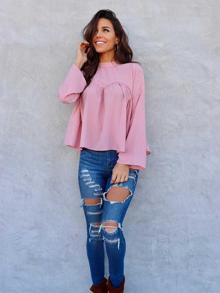 Chiffon Blouse with Pleated Details In Pink