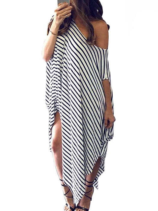 81d2973041 Asymmetric One Shoulder Striped Print Loose Fit Dress – WhatsMode