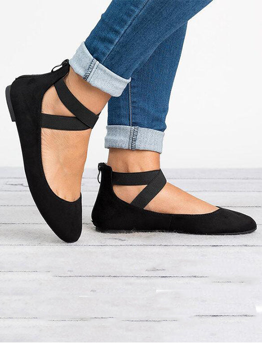 Solid Cross Straps Front Ballerina Flat