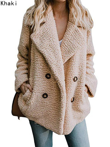 Women Casual Fleece Open Front Lapel Pockets Cardigan Coats Jackets