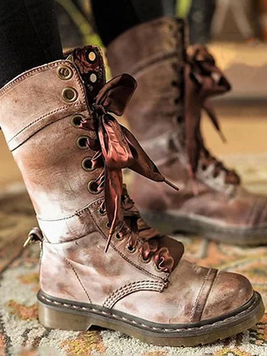 f6a8631e4864 Cool PU leather Lace-up Middle Martin Boots – WhatsMode