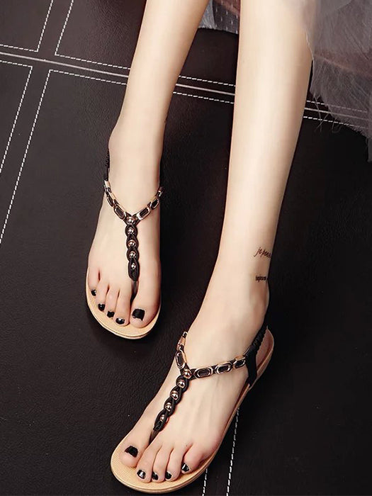 Summer Solid Color Clip Toe Sandals