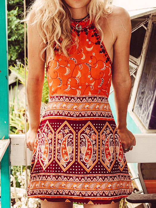 Boho Floral Print Halter Sleeveless Dress