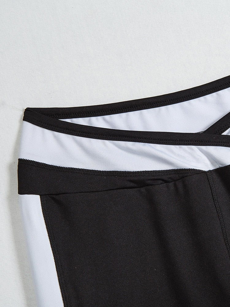Black and White Color Block Sports Leggings