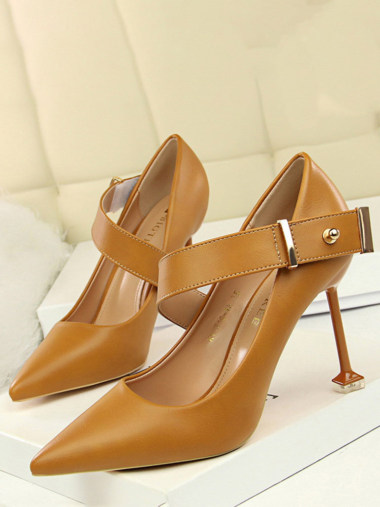 Formal Pointed Toe Thick Strap Heels