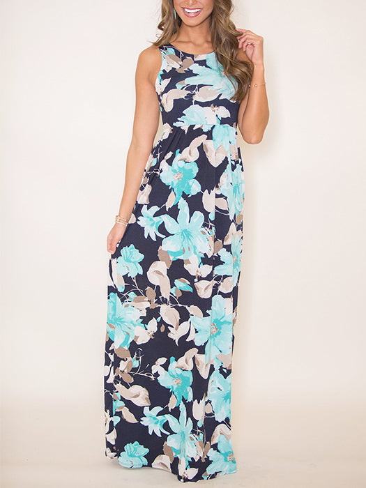 7730442080b Holly Floral Print Sleeveless Maxi Dress With Pockets – WhatsMode
