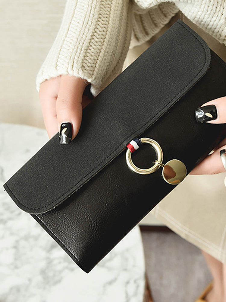 Long Leather and Suede Panelled Purse