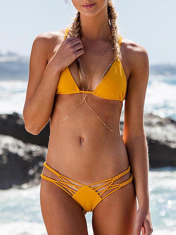 Blocked Strap And Lace Bikini Set With Side Tie
