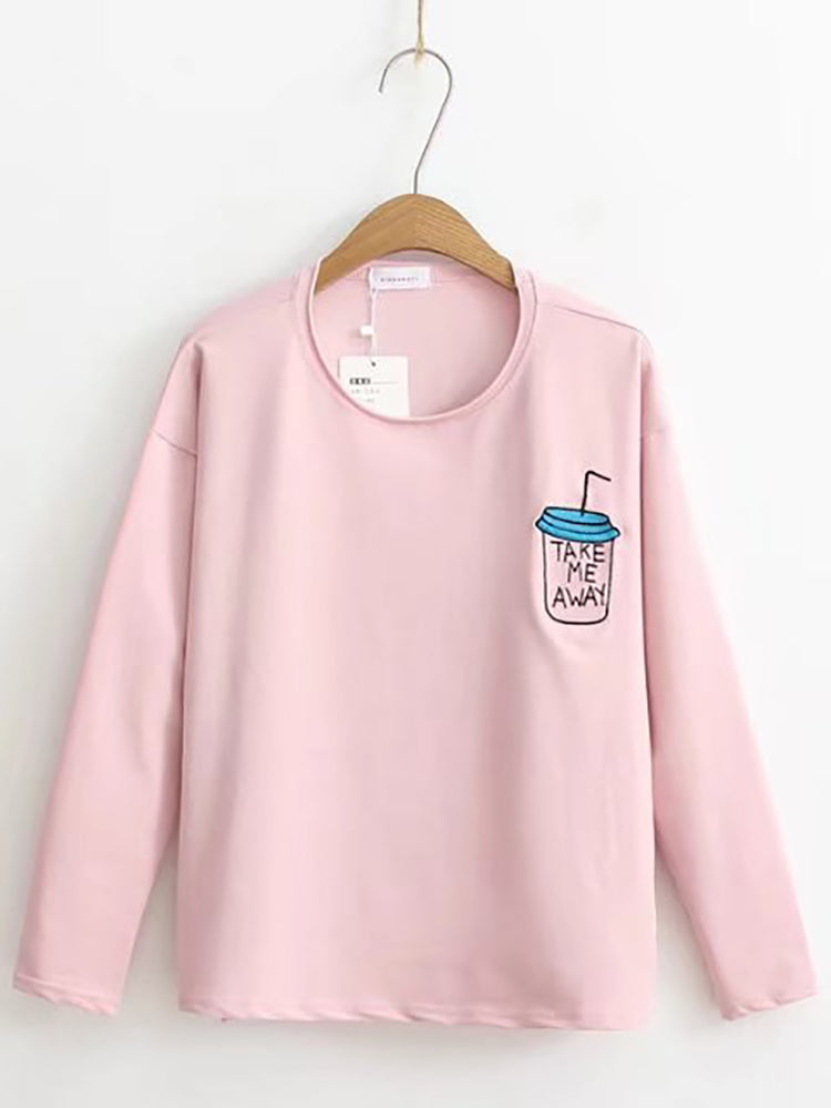 Basic Embroidery Long-Sleeve Top