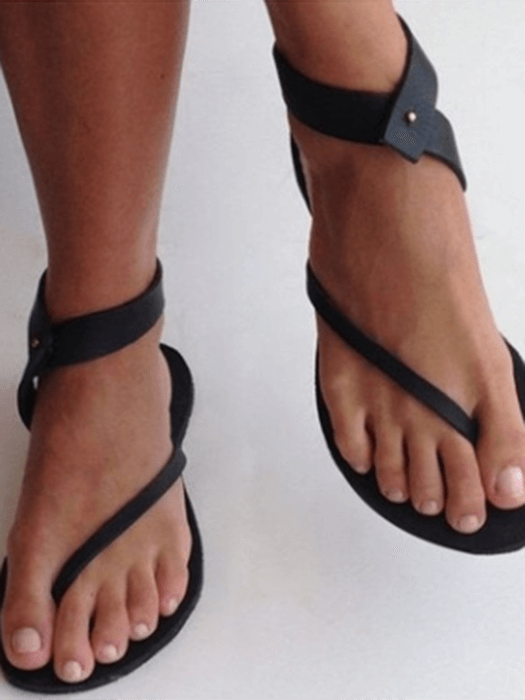 3c6e8613f48 Toepost Buckle Flat Rome Sandals – WhatsMode