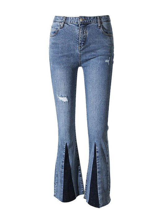 Ripped Out Trumpet Jeans With Slip Front