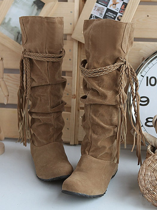 Frill Inner Heeled Ankle Boots With Tassel