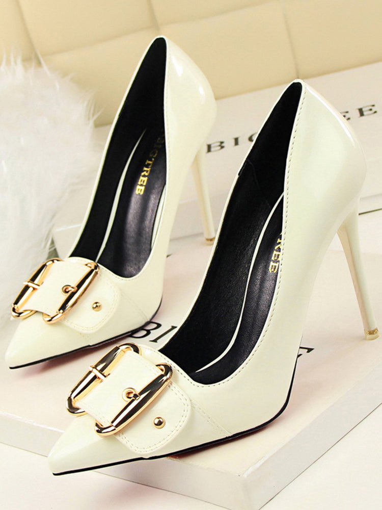 Refined Buckle Embellishment Pumps